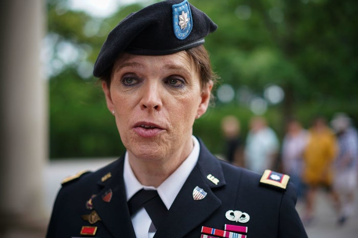 Retired Army lieutenant colonel Ann Murdoch, who is transgender and has protested President Donald Trump's ban.