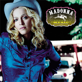 Madonna's electronic, pop, country, folk triple-platinum album Music was led by it's self-titled single with a music video that featured Ali G. It was also her best-selling album since Like A Prayer in 1989.