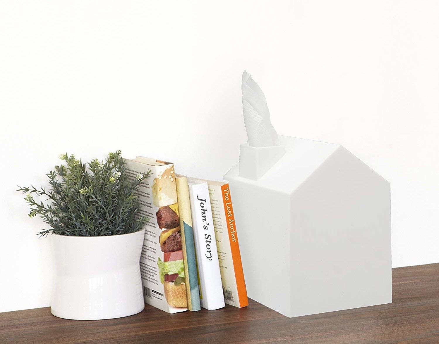 House-shaped white tissue box cover