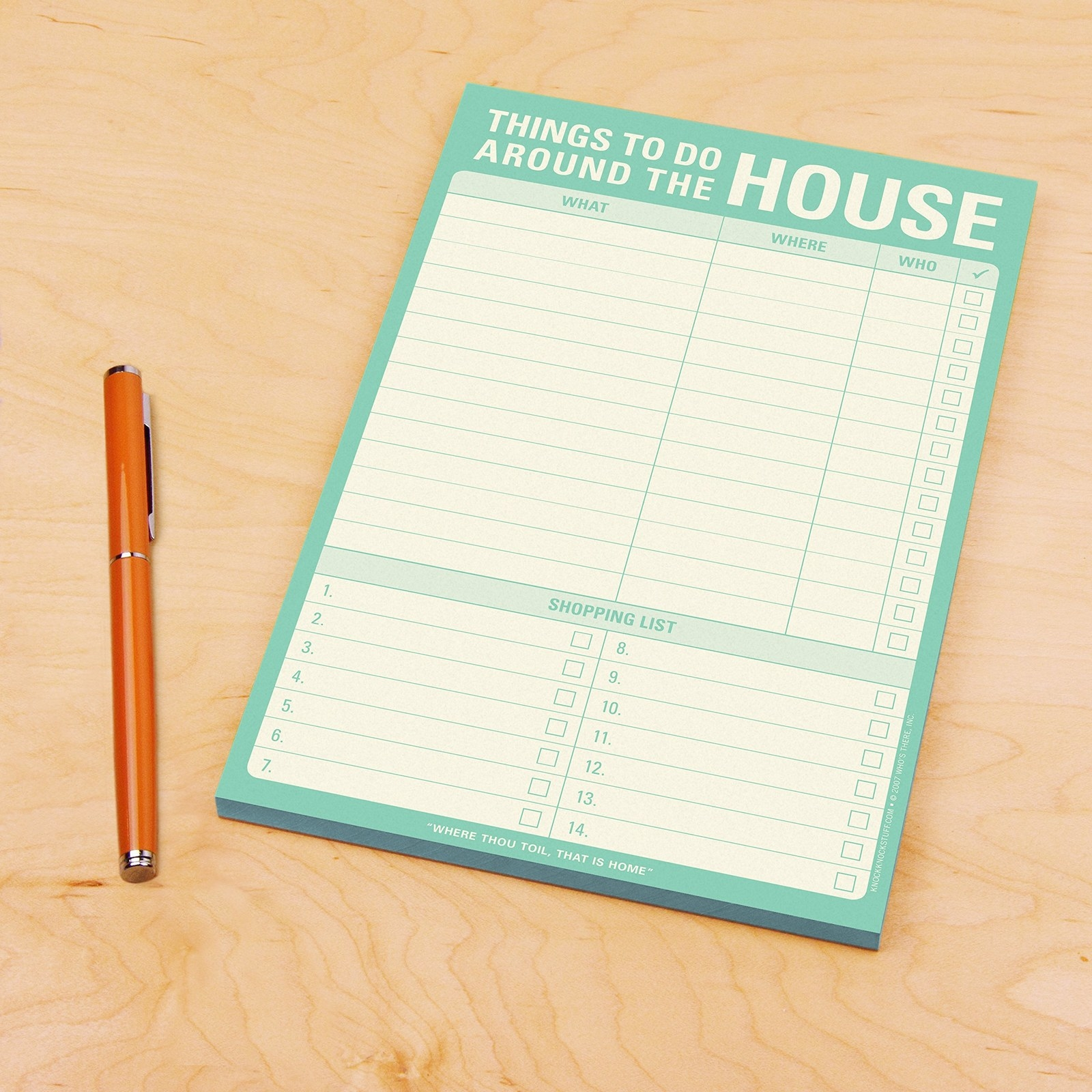 """Things To Do Around The House"" checklist notepad"