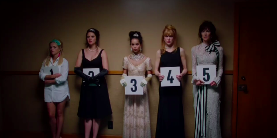 It looks like Madeline (Reese Witherspoon), Jane (Shailene Woodley), Bonnie (Zoë Kravitz), Celeste (Nicole Kidman), and Renata (Laura Dern) are all standing in a lineup at the police station the night of Perry's death.