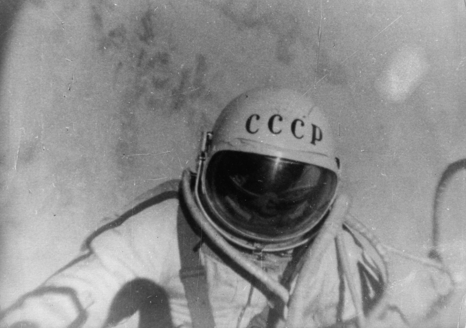 1965 A still from the documentary film The Man Walking In Space, which followed Russian astronaut Alexei Arkhipovich Leonov on his famous orbit in the spacecraft Voskhod 2. On March 18, 1965, Leonov left the spacecraft for 10 minutes to become the first man ever to walk in space.