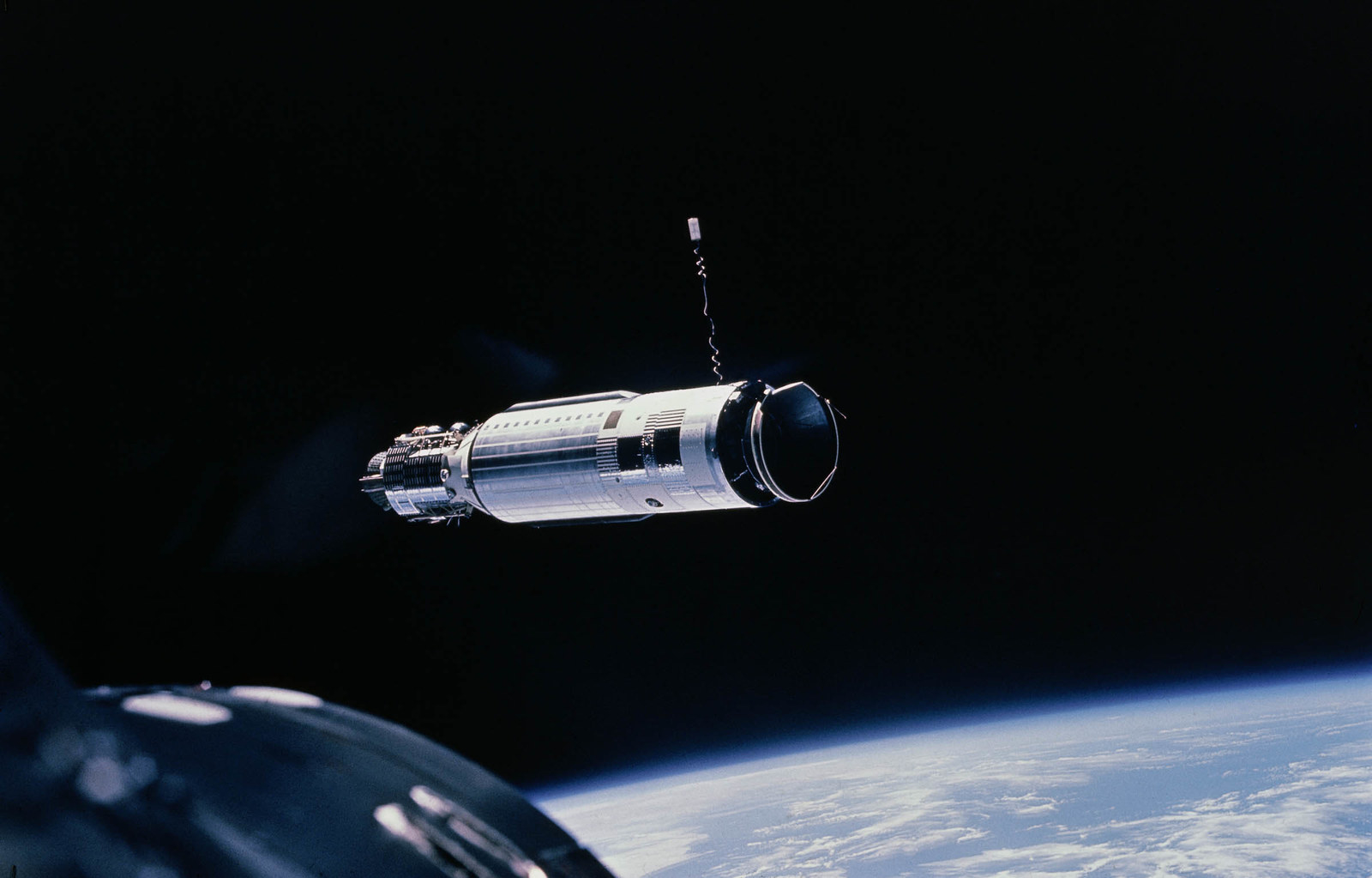 1966 Taken from the spacecraft Gemini 8 as astronaut Neil Armstrong manoeuvres his capsule toward the Agena Rocket.