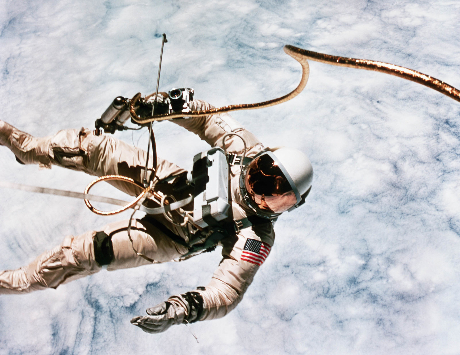 1965 The first spacewalk in US history was made by astronaut Edward H. White during the Gemini 4 mission.