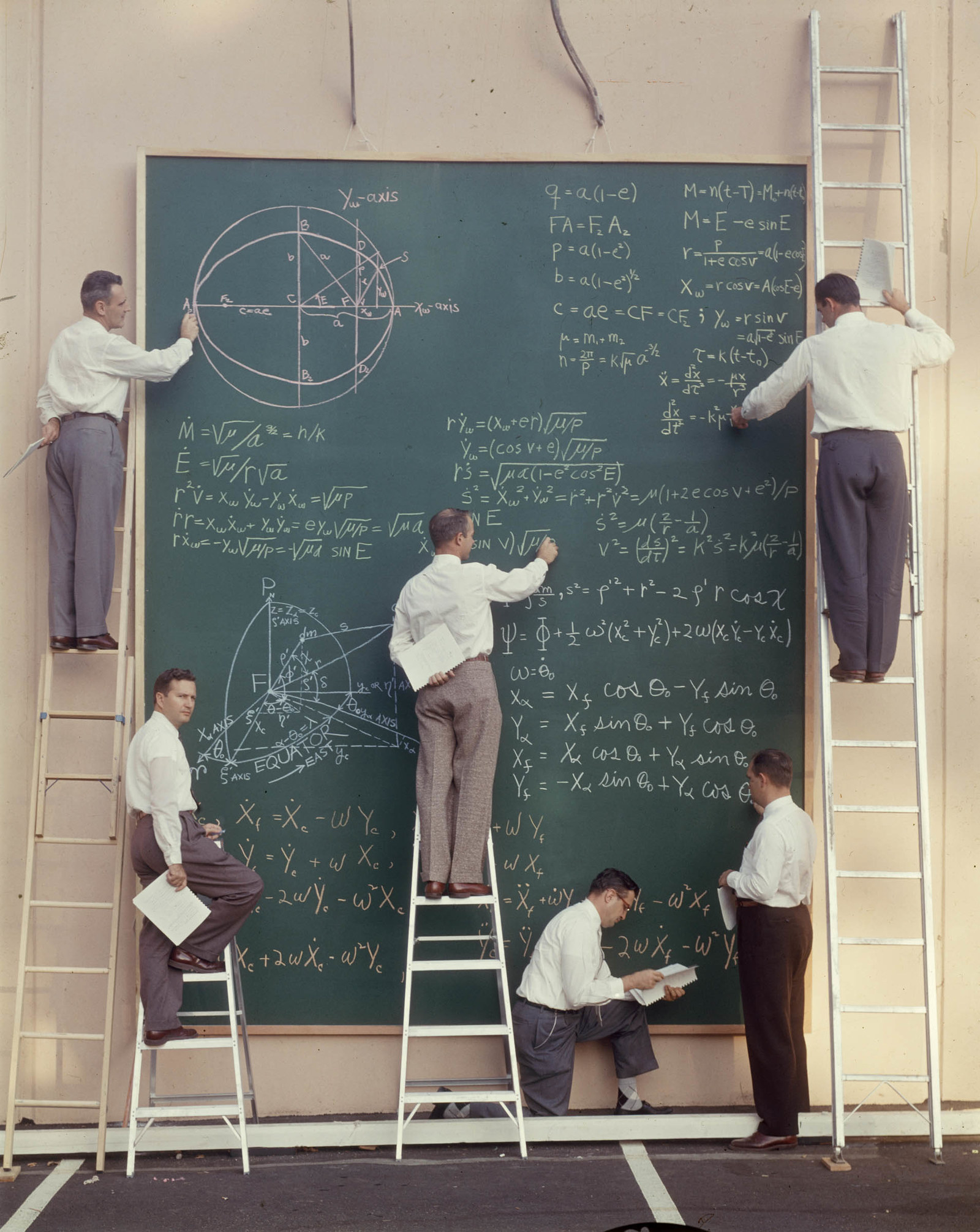 1957 Six unidentified scientists use ladders and a large chalkboard to work out equations for satellite orbits at Systems Labs, California.