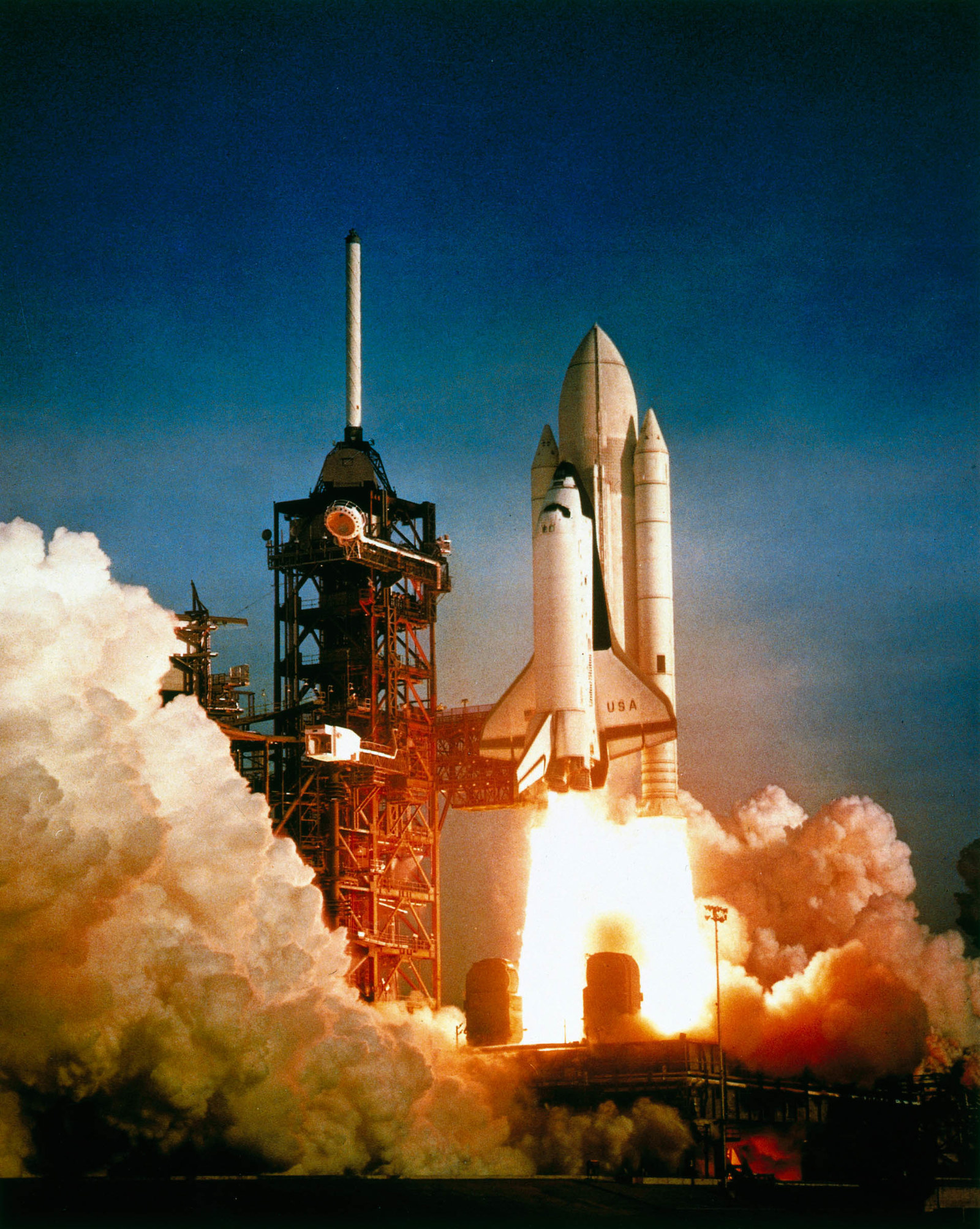 1981 The first manned shuttle, Columbia, crewed by Robert Crippen and John Young, was launched from the Kennedy Space Centre, Cape Canaveral, Florida, on April 12, 1981. Columbia orbited 36 times before landing safely back on Earth. The Space Shuttle, the world's first partially reusable launch vehicle, has been used for all manned US space missions ever since. Columbia successfully completed 28 missions before being lost, together with its crew of seven, on re-entry over Texas on Feb. 1, 2003.