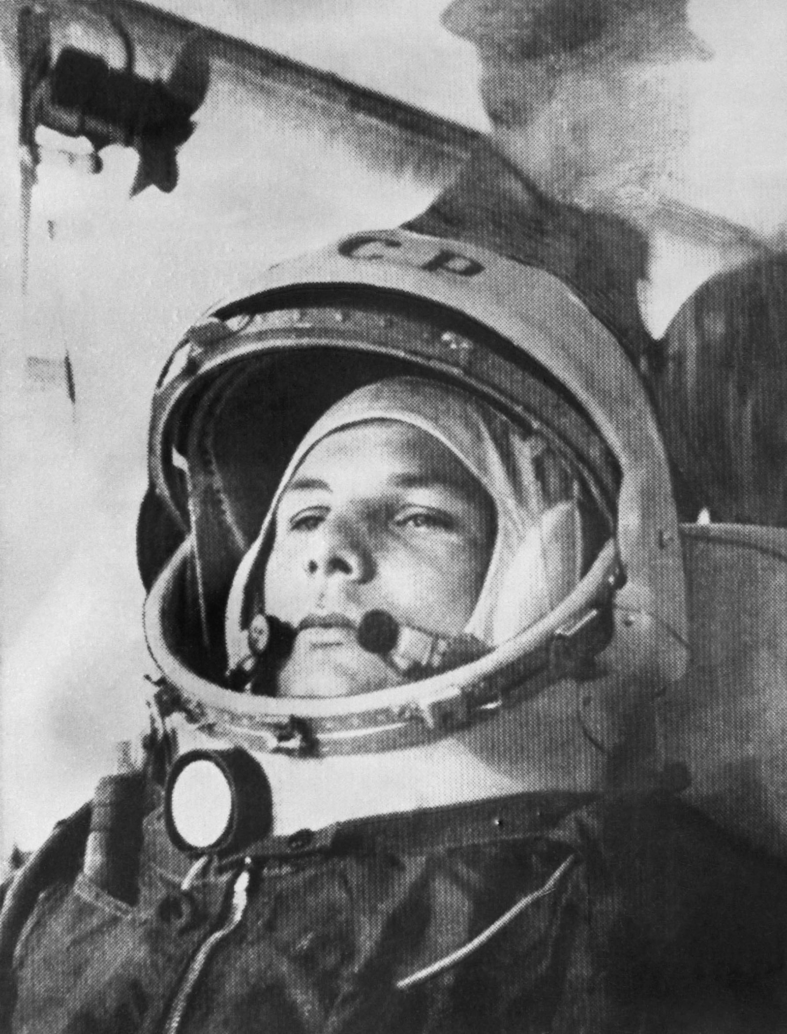 1961 Soviet pilot Yuri Gagarin on his way to become the first person to orbit the Earth in the Soviet rocket Vostok 1.