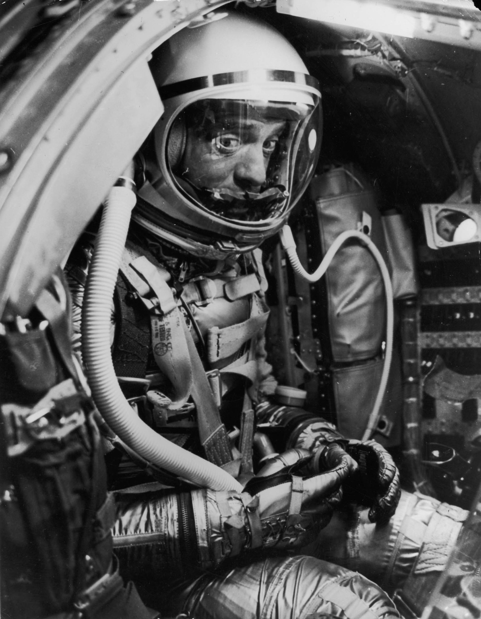 1961 US astronaut Alan Shepard waits for the Mercury capsule Freedom 7 to be launched into space at Cape Canaveral, Florida. Shepard, one of the seven original NASA astronauts, became the first American in space when the capsule was launched to an altitude of 117 miles, making a 15-minute suborbital flight of 302 miles down the Atlantic missile range before splashing into the ocean.