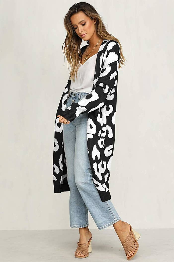 1f55d55a8d A longline leopard print cardigan you can throw on over yesterday s clothes  to make  em look brand new.
