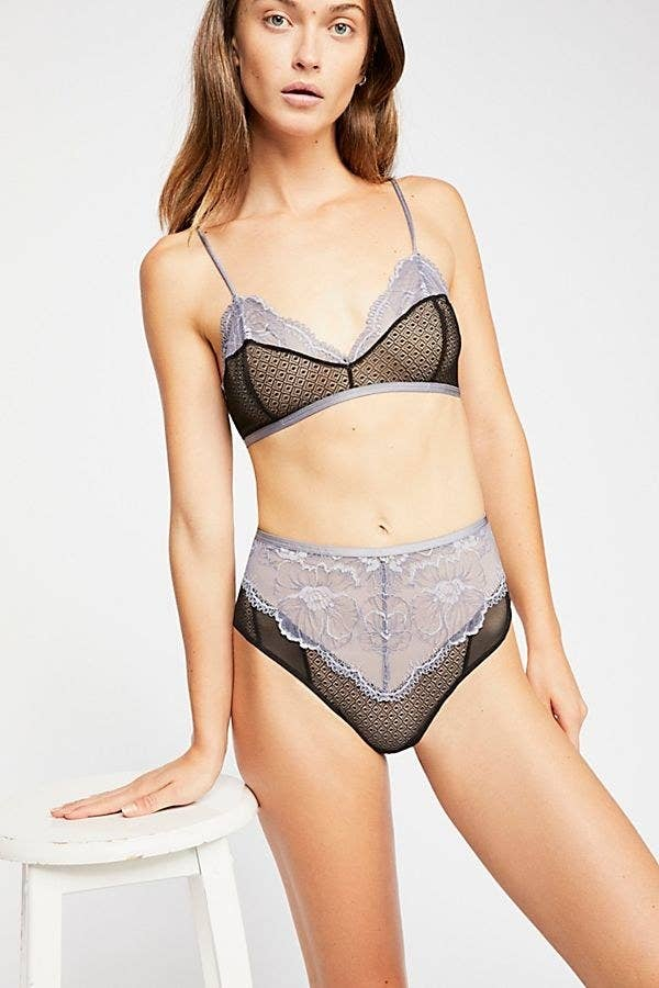 2c02bbe35cc6 Sexy sheer high-waisted lace undies with mesh panels and contrast trim for  a flirty look you'll want to wear all the time.
