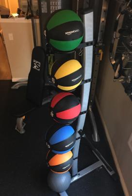 a stack of the medicine balls