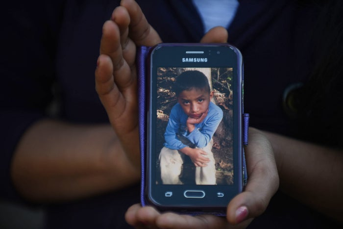 Catarina Gomez Lucas shows a picture of her 8-year-old brother, Felipe Gomez Alonzo, who died Dec. 24 while in the custody of US Customs and Border Protection officials.