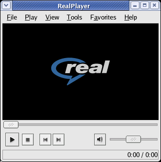 A image of a RealPlayer with the logo in the screen