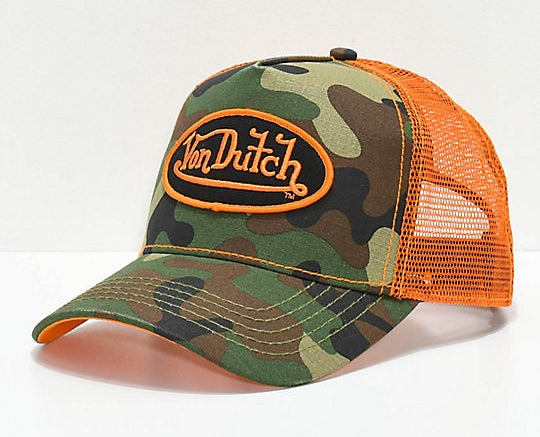 A orange and army camo trucker hat
