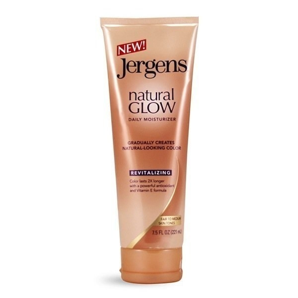 A container of Jergens Natural Glow self-tanner