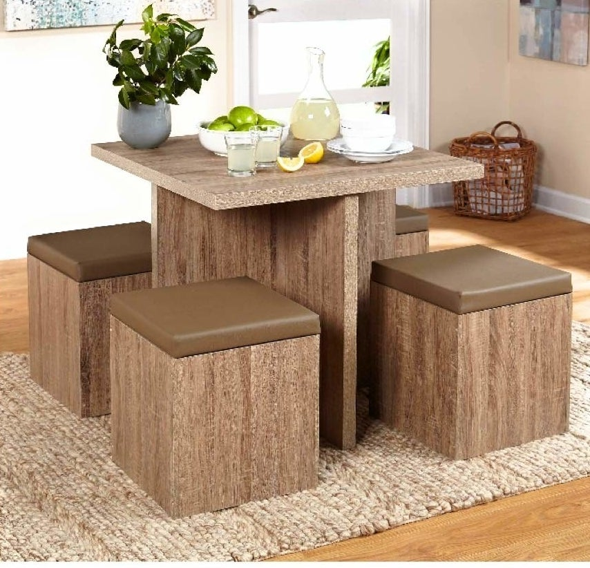 The kitchen table with storage stools