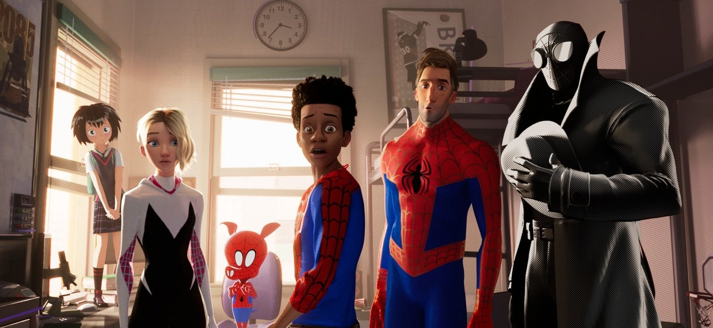 The spider-crew (from left to right): Peni, Spider-Gwen, Spider-Ham, Miles Morales, Peter Parker, and Spider-Man Noir in Spider-Man: Into the Spider-Verse.