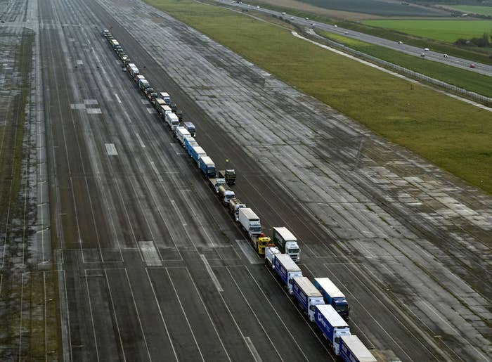 Lorries stand parked at Manston Airport near Ramsgate, southeast England, as they wait to take part in a trial to tackle post-Brexit traffic queues on Jan. 7, 2019.