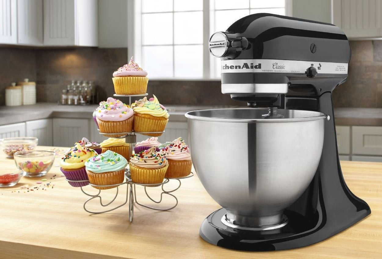 Bowl has a 5 qt. capacity — up to four loaves of bread or nine dozen cookies. The mixer itself has 10 speeds. It includes the beater, dough hook, and wire whip.Get it from Walmart for $188.99 (originally $229).