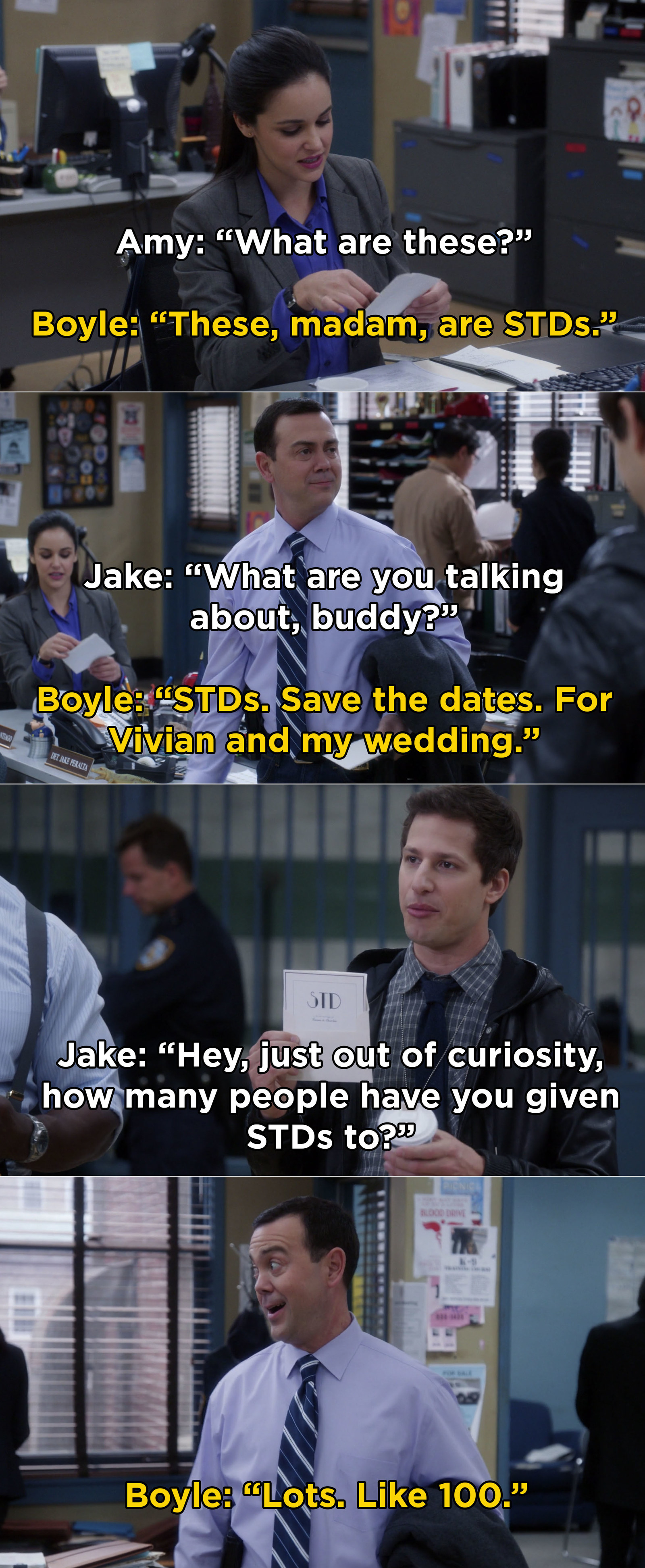 First, when Boyle gave everyone these hilarious save-the-date cards for his wedding