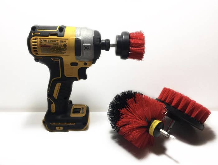 """The set comes with three brush heads in different sizes. Promising review: """"I bought this on a whim because my walk-in shower is just a pain to clean. I'm 51 and I guess I've just been old school with how I clean, so hand scrubbing it was for years. The FIRST time I used this to clean my shower, it took five minutes AND it scrubbed my shower cleaner than it has been in years. It hit the corners, the floor, the glass door, etc. Everything came out squeaky clean. I'm NEVER cleaning my shower by hand again."""" —TerryGet them from Amazon for $14.96 (available in six colors)."""