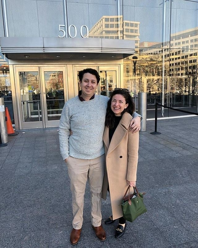 Dan Pollock (left) and Danielle Geanacopoulos outside the District of Columbia Superior Court on Dec. 27, after learning they couldn't get a marriage license.