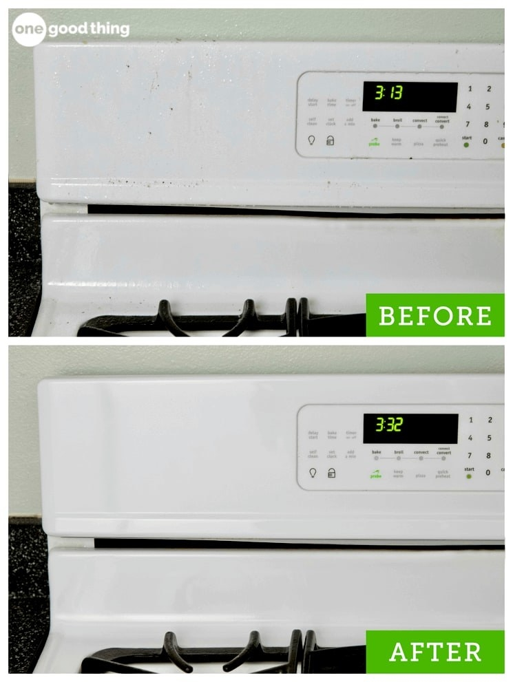 before: blogger Jillee's grimy stove top and panel, dripping with dusty grease; after: the same spot, now completely clean