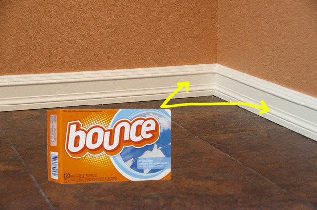 bounce box on floor with arrows pointing to baseboards