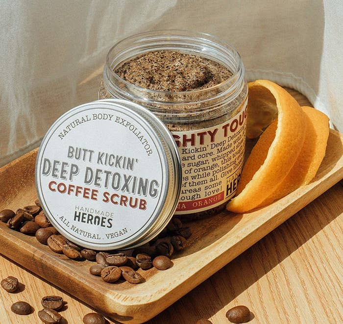 """Promising review: """"This coffee scrub has the most amazing, invigorating scent that really wakes you up during your morning shower! Smells like a nice fresh pot of coffee! It is the perfect amount of coarse because it feels like it is really exfoliating your body, but it does not hurt or leave your skin red. The coffee sent does not linger on your skin too long (I was nervous it might mix weird with my perfume). As soon as I dried off, the scent went away and I was left with soft, smooth skin!"""" —Sandra E. SwiertzGet it from Amazon for $9.90."""