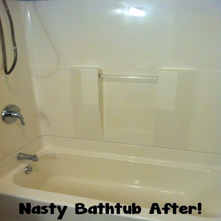 after: the same tub, no more rust stains