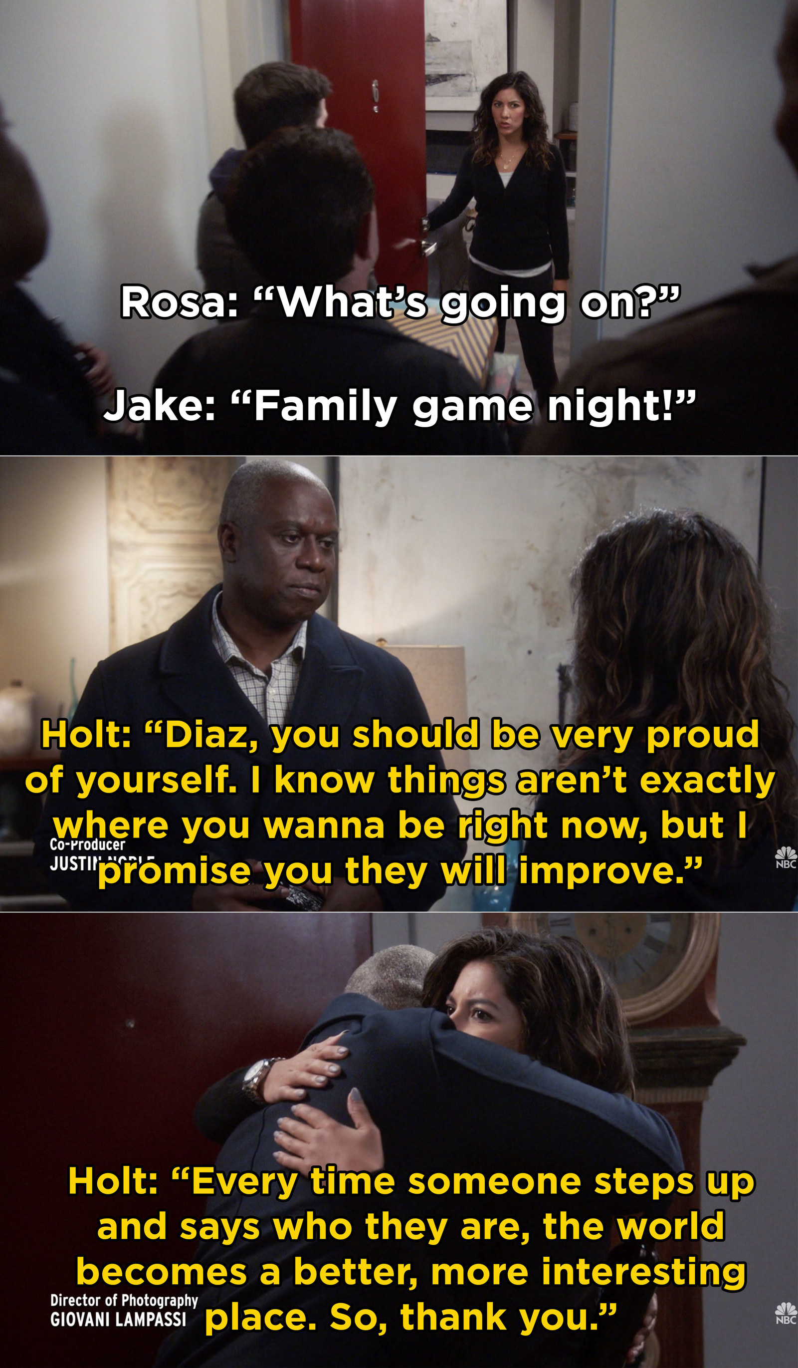And then, when the squad threw Rosa a family game night to show their support
