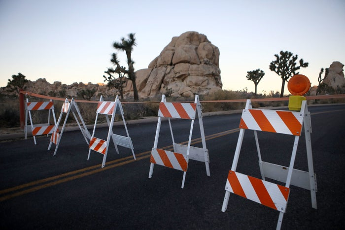 Barricades block a closed campground at Joshua Tree National Park.