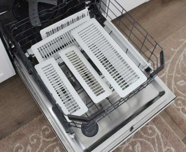 ceiling and floor vents in the bottom rack of a dishwasher