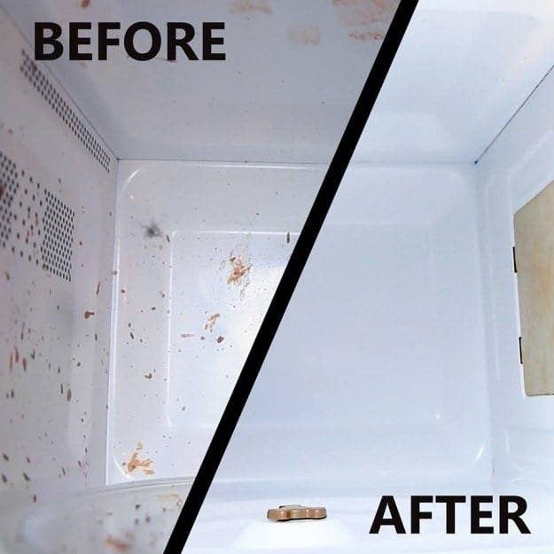 before: a microwave splattered with food residue and after: the same microwave, completely clean