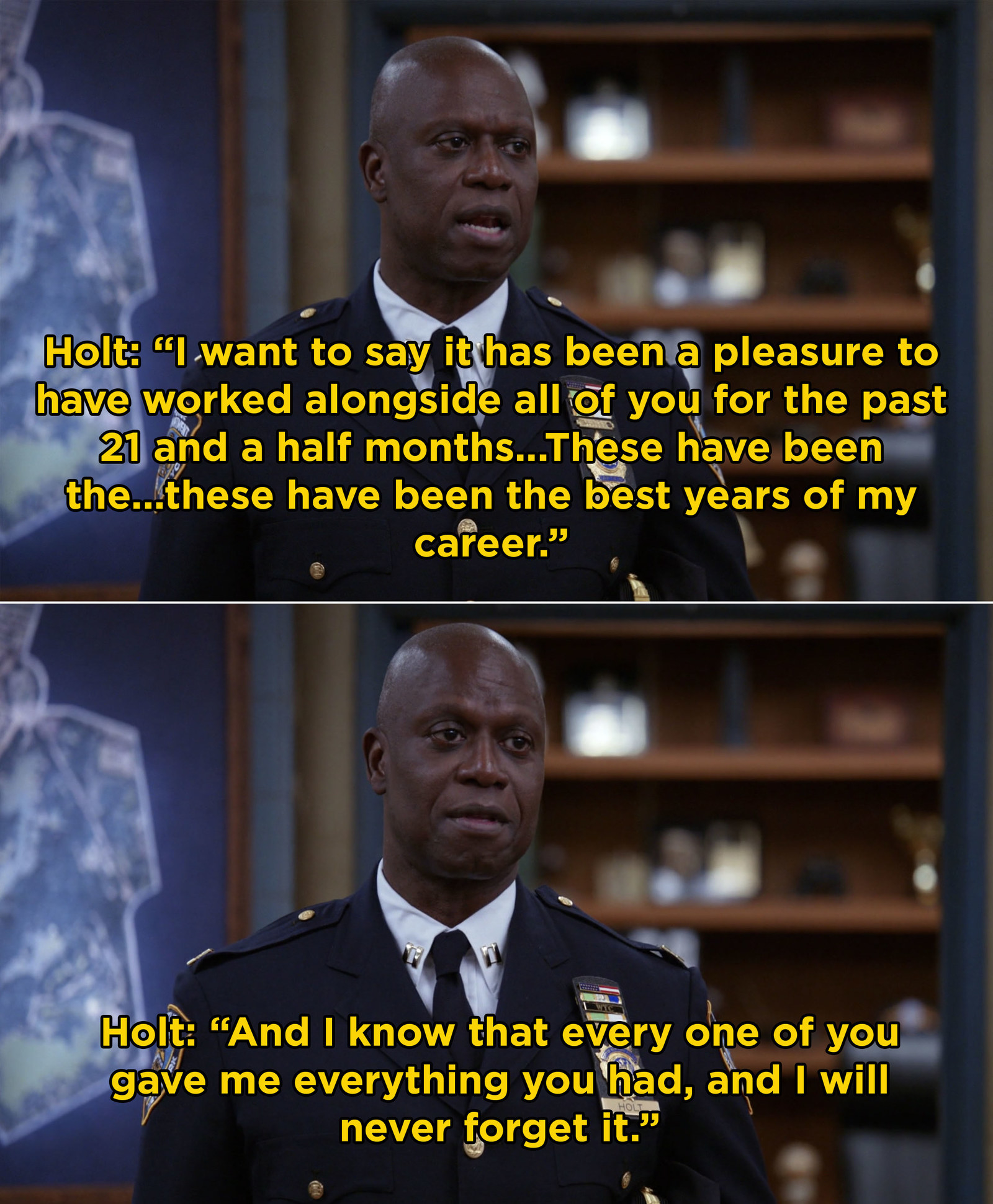And when Captain Holt was forced to leave the Nine-Nine and finally broke his hardened demeanor