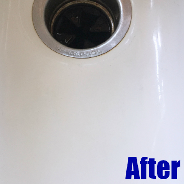 after: the same sink, no stains in sight, bright shining white