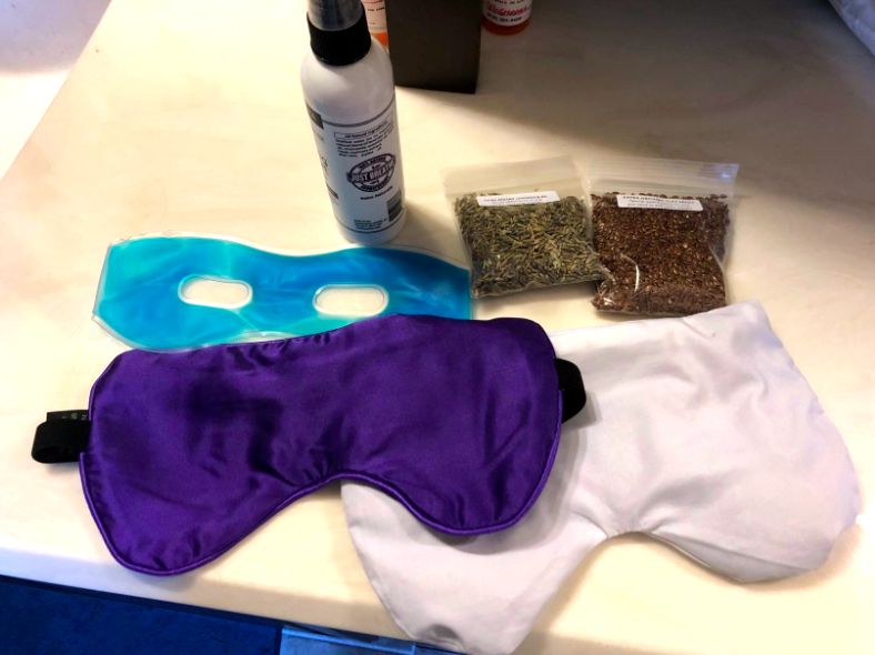 reviewer photo of they eye mask and inserts removed