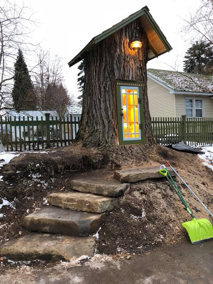 A Dead Tree Was Turned Into A Little Free Library And It's Too Cute For Words