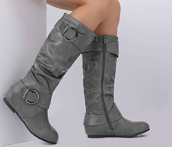 40c51dab31e22 Suede wedge boots embellished with buckles at the top and bottom perfect  for when you wanna add a simple, but cute, pair of boots with a reasonable  price ...