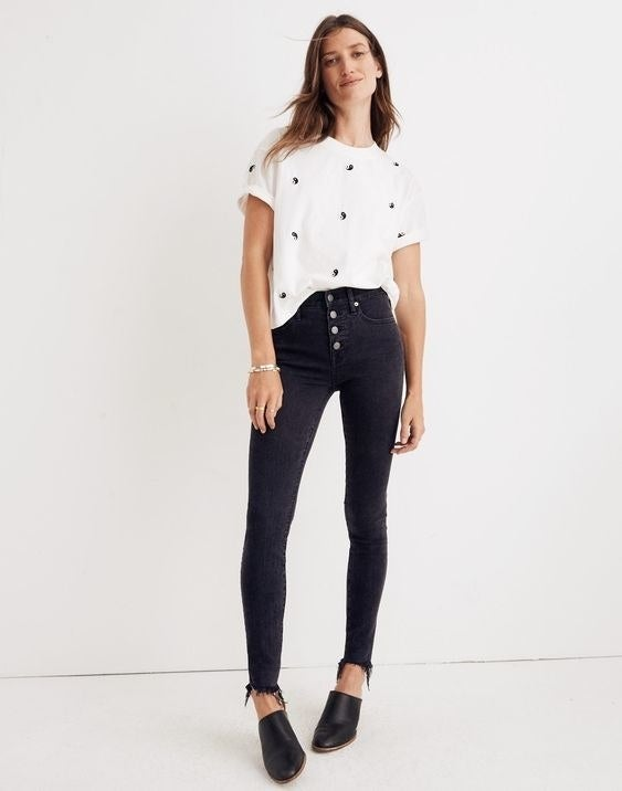 """Promising review: """"A sales associate recommended these to me and I'm glad she did! As someone who has gone through many pair of Madewell black jeans, I'd say these might be my favorite so far. The material is perfect; 92% cotton with the rest just the right amount of polyester and elastane that give it just the right amount of stretch. These can easily transition from a work to bar setting. The fringe at the bottom gives these a really nice structure. I love these, get them!"""" —MindersGet them from Madewell for $135 (available in sizes 23-37 and in petite, regular, tall, and taller)."""