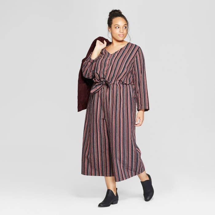 62c3cc6a4 A striped tie-front jumpsuit for throwing this on five minutes before work  and still winning Best Dressed. Add this to your resume ASAP. Get it from  Target ...