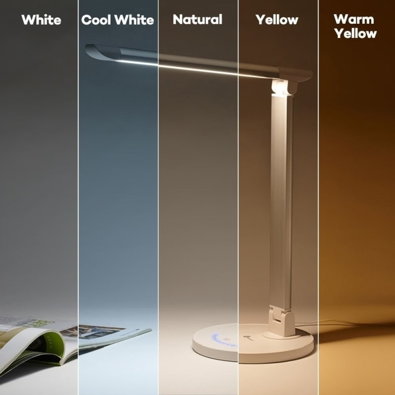 The lamp sectioned off into five different strips showing the different lighting colors from white, to cool white, natural, yellow, and warm yellow