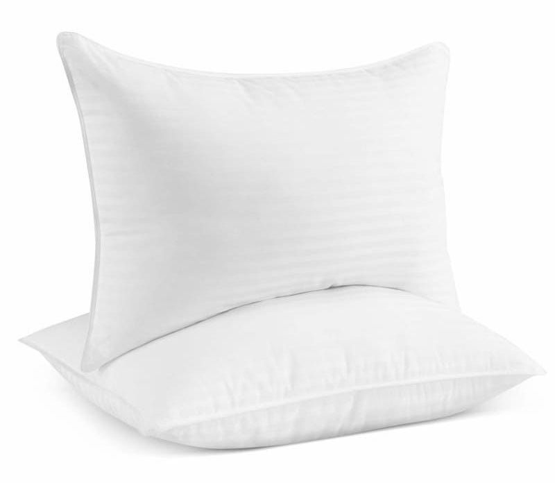 Two white pillows stacked on top of each other