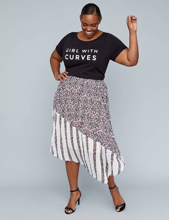 """Promising review: """"There weren't a lot of items that I could wear from the Girl With Curves collection, but I knew that I would love this skirt. This skirt has elastic in the back waist and is flat in the front. It also has pockets, which is convenient. The lining of the skirt is a polyester and stretches. It's not too short. If you're undecided on which size to get, get the larger size. I love this skirt!"""" —MissJaeGet it from Lane Bryant for $19.98 (originally $69.96; available in sizes 14-28)."""