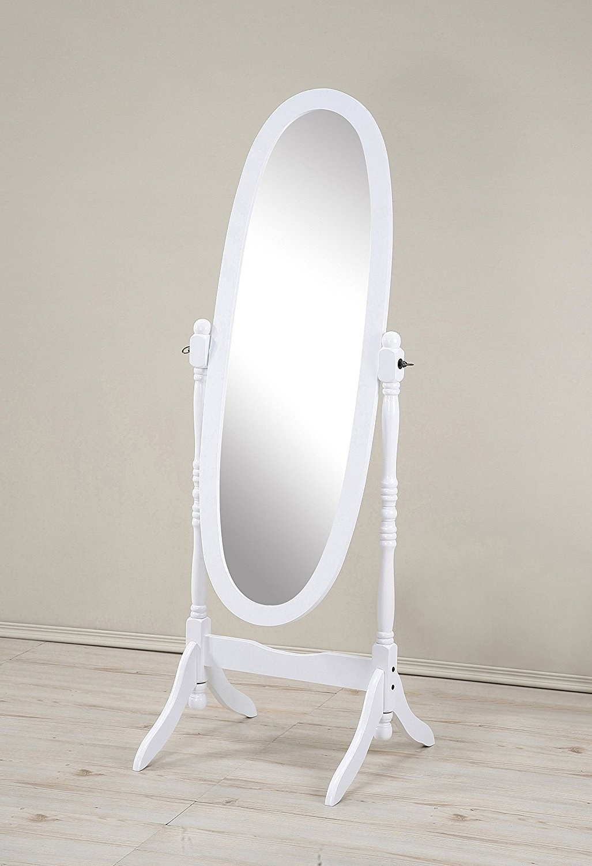 A round white full-length mirror
