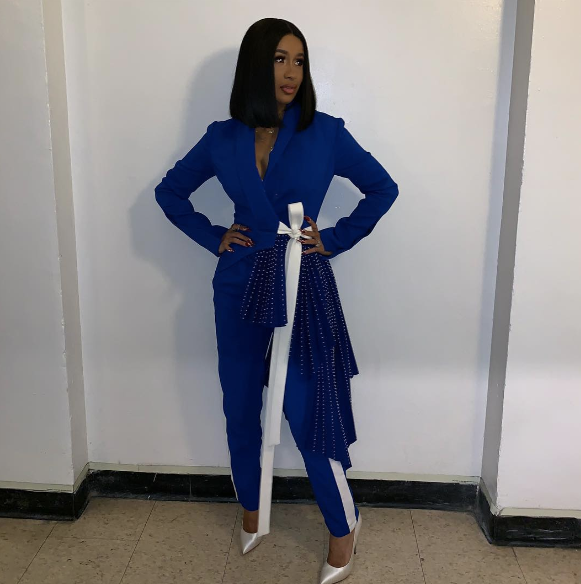 She wore this striking blue pantsuit on  Jimmy Kimmel  and made me wish we had matching checking accounts.