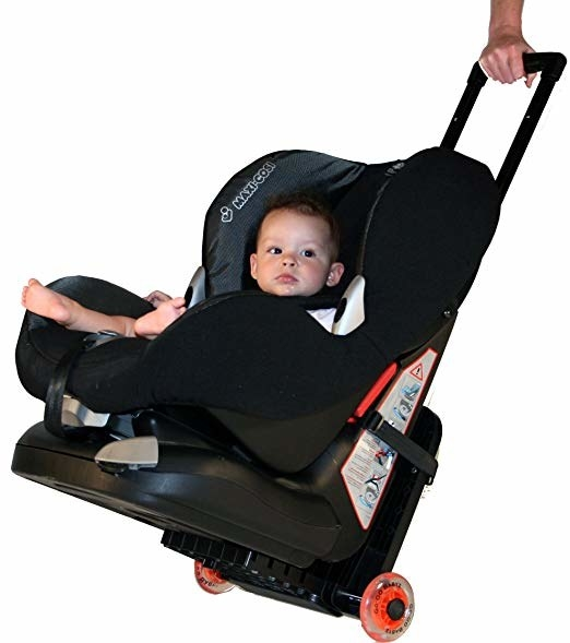 Let's say you decide to go through security with the car seat, how are you going to carry it around? Well someone that is very smart invented this thing that turns car seats into mini strollers so you can take your babe strapped into the seat through airports and train stations. Get it from Amazon for $68.89.
