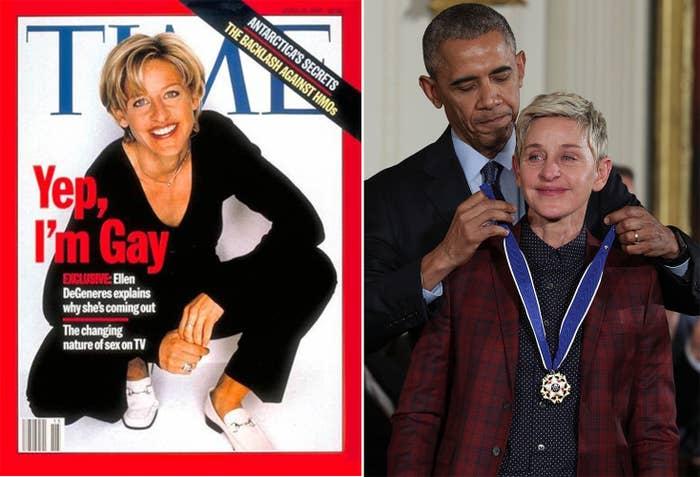 Ellen DeGeneres's 1997 cover of Time magazine; then-president Barack Obama presents the Presidential Medal of Freedom to DeGeneres in 2016.