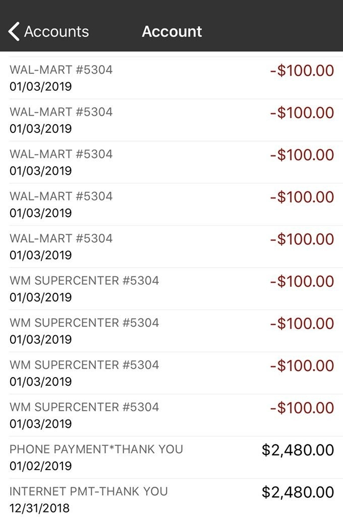 Tannehill's bank statement showing James' payment, and Tannehill's gift card purchases.