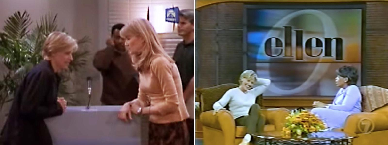 """DeGeneres and Laura Dern in """"The Puppy Episode""""; DeGeneres with Oprah Winfrey in 1997."""